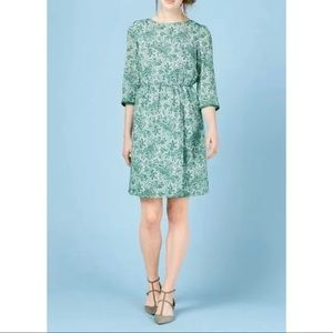 Boden Green White Paisley Dolly Dress 16 Long